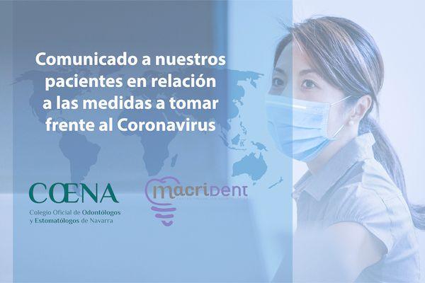 Comunicado a nuestros pacientes en relación a las medidas a tomar frente al Coronavirus